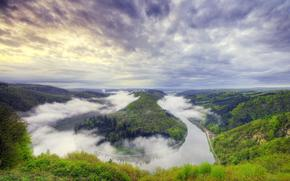 bay, forest. clouds, fog, river, Mountains, sky, Trees