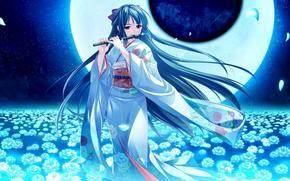 nia, kimono, luna, noche, Flores, flauta, instrumento musical