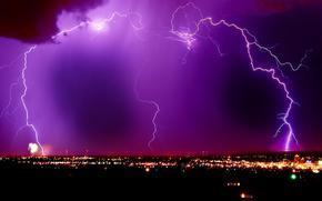 lightning, night city, violet sky