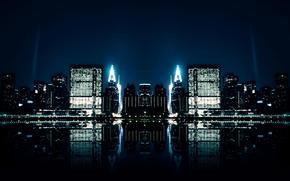 city, water, night