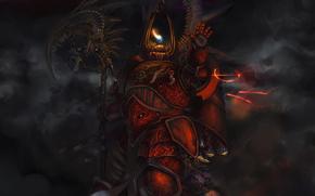 guerriero, armatura, treccia, fiamma, caratteri