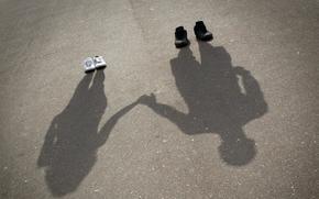 shoes, sneakers, sneakers, shadow, Silhouettes, guy, girl, asphalt