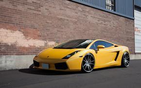 ламборгини, галлардо, жёлтый, вид сбоку, лобовое стекло, отблекс, Lamborghini