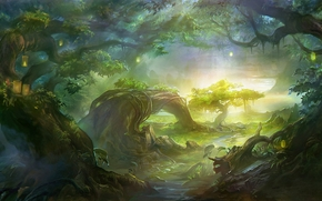 Kunst, Landschaft, Bume, Fluss, Bach, Beleuchtung, Beleuchtung, die Wurzeln, Liane, Licht, Wald