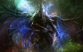 guerrero, armadura, Espadas, magia, ardor en los ojos