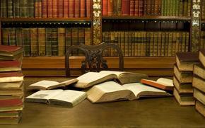 Libros, biblioteca, Estantes, silla