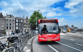 Амстердам, автобус, город