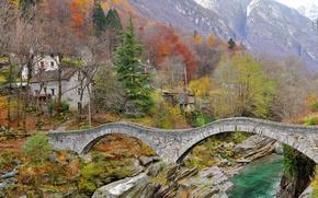 Montagne, acqua, pietre, ponte, case, paesaggio