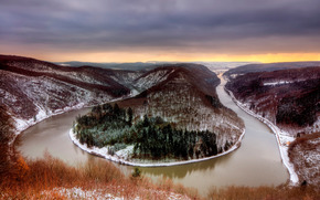 river, Winter, island, landscape