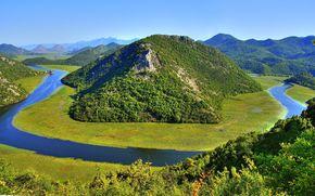 夏, 川, 島, 山地, 風景