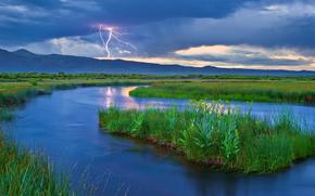 river, islet, Mountains, lightning, landscape