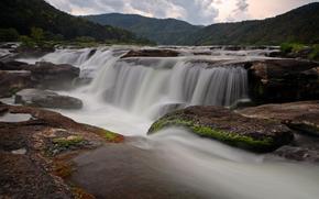 nature, waterfalls, river, Streams, stones