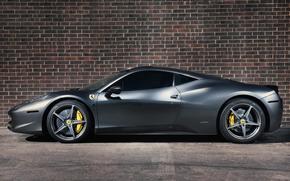 феррари, италия, серебристая, профиль, тонированная, диски, жёлтые супорты, Ferrari