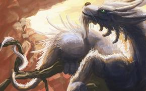 Art, dragon, rocks, branch, tail, Horn, feathers
