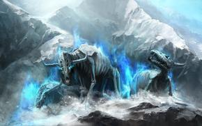Art, Monsters, Skeletons, Undead, rocks, Horn, magic, snow, ice