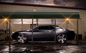 Car, machinery, Tuning, night, sky, clouds, garage, Dodge