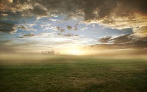 природа, поле, трава, газон, облака, утро, туман