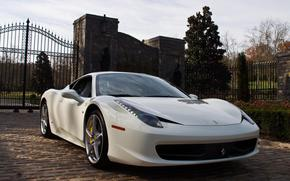 Italy, White, gate, fence, Trees, Ferrari