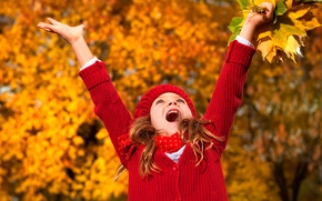 little, girl, autumn, leaves, small, girl, autumn, leaves