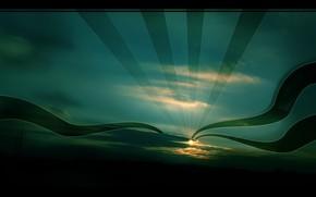 небо, солнце, обоя, ночь