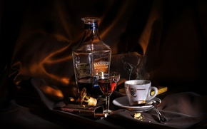coffee, cognac, cup, glass, coffee, Brandy, cup, glass