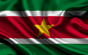 suriname, satin, flag