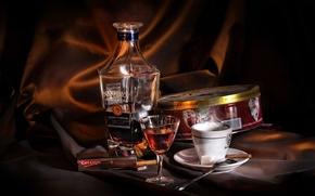 coffee, cognac, Cookies, cup, glass