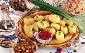 Праздничный, New Year, table, potato, salad, onion