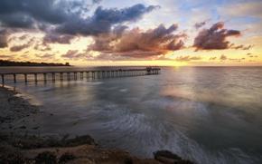 sea, pier, berth, wharf, clouds, sunset, coast