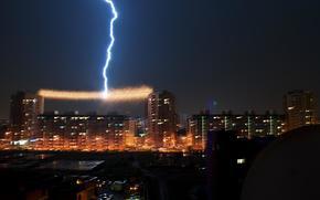 Omsk, storm, night, rain, city, Downpour