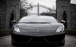 Lamborghini, Gallardo, superlaggera, front view, black, gate, Statue, Lamborghini