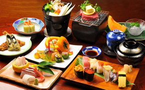 table, dishes, Japanese Food, Rolls, seafood, vegetables, sauce, Fondue, mushrooms, ice cream