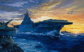 рисунок, Тихий океан, самолеты, авианосец, Йорктаун, США, вторая мировая, Другая техника