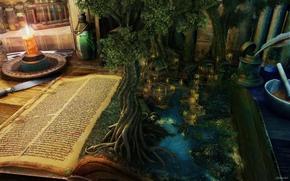 дерево, дом, книга, речка