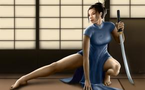 Девушка, азиатка, меч, платье, ципао, заколки, стойка