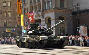 танк, российский основной боевой танк, Москва, военный парад, люди