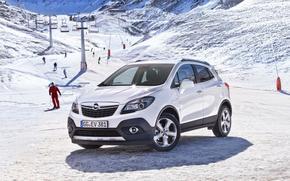 Автомобиль, Обоя, Белый, Опель, Мокка, Солнце, Машина, Снег, Люди, Передок, Opel