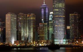 город, Гонконг, ночь