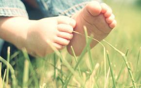 настроения, ребенок, дети, нога, ножка, младенец, малыш, природа, трава, листья, фон обои