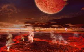 land, becoming, eruption, Volcanoes, Lightning, moon