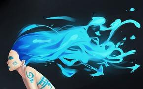 Arte, disegno, ragazza, capelli, blu, blu, modello