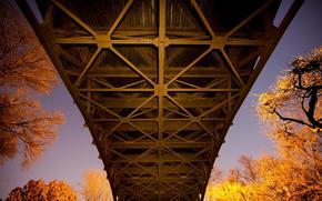 ponte, tramonto, sfondo