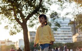 девочка, азиатка, город, настроение