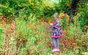 ragazza, natura, autunno, stato d'animo