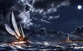 Art, sea, ship, sailing ship, storm, city, night, moon, clouds, clouds, spire
