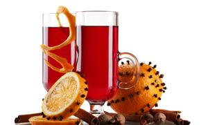 Mulled wine, drink, glasses, oranges, citrus, peel, spices, Nuts, cinnamon
