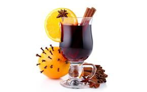 Mulled wine, drink, goblet, fruit, citrus, oranges, spices, cinnamon, anise, carnation