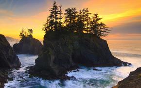 coucher du soleil, mer, flots, Rocks, et les arbres BR, paysage