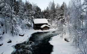 Winter, river, snow, lodge, landscape