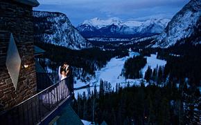 зима, горы, деревья, балкон, новобрачные, пейзаж